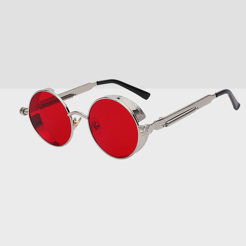 Round Hipster Sunglasses - Red Silver