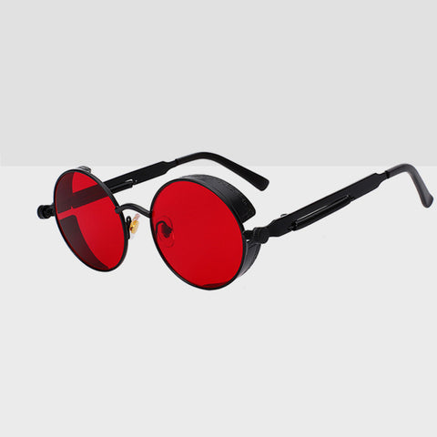 Round Hipster Sunglasses - Black & Red