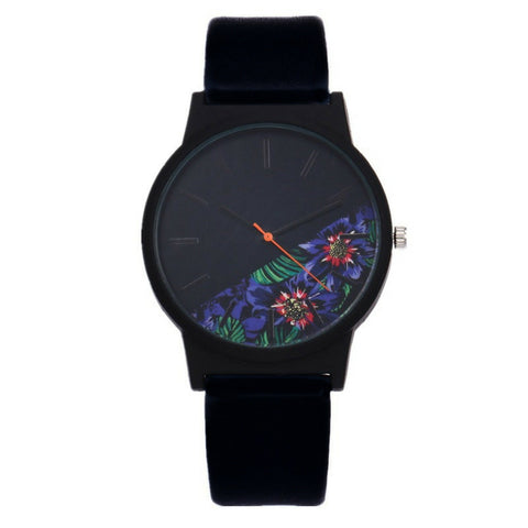 LINDER DESIGN Flower Watch - Blue Flower