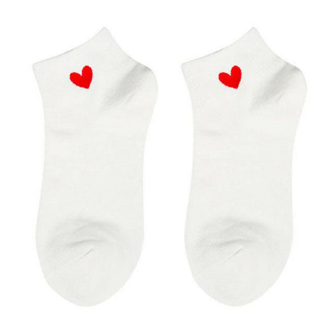 Heart Ankle Socks - White Red Heart