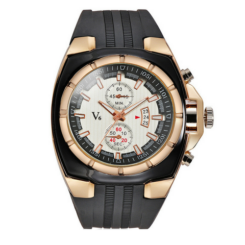 Mens V6 Sport Watch-Gold with White Face