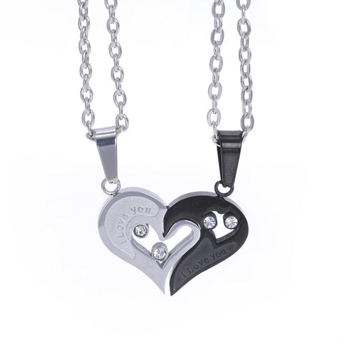 """I Love You"" Pendant Couple Necklace"
