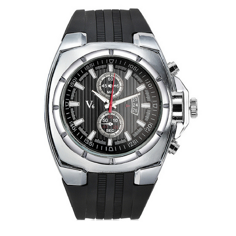 Mens V6 Sport Watch-Silver with Black Face