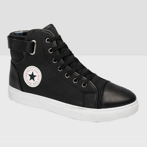 High Top Canvas Boots - Black