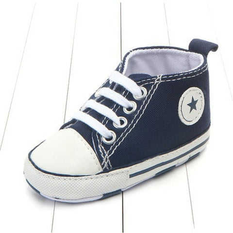 Baby Canvas Crib Shoes - Navy Star