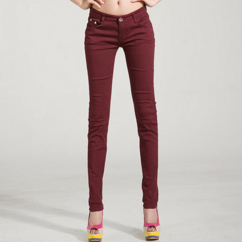 LINDER Candy Skinny Jeans in Maroon