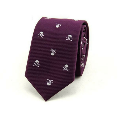 Skull Neck Tie - Purple