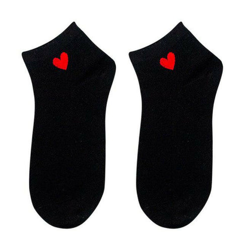 Heart Ankle Socks - Black Red Heart