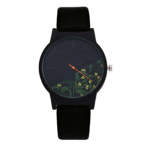 LINDER DESIGN Flower Watch - Green Leaves