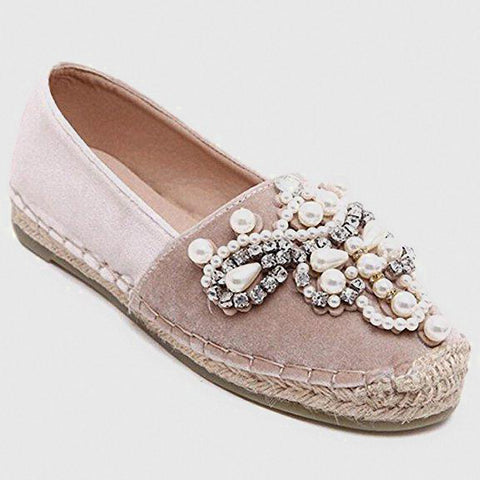 Pink & Beige Espadrilles With Floral Pearl & Gemstone Embroidery