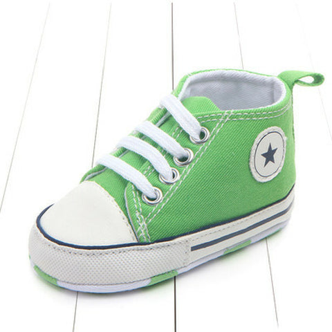 Baby Canvas Crib Shoes - Green Star