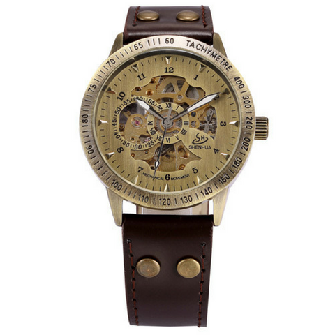 Classic Skeleton Watch - Brown