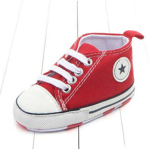 Baby Canvas Crib Shoes - Red Star