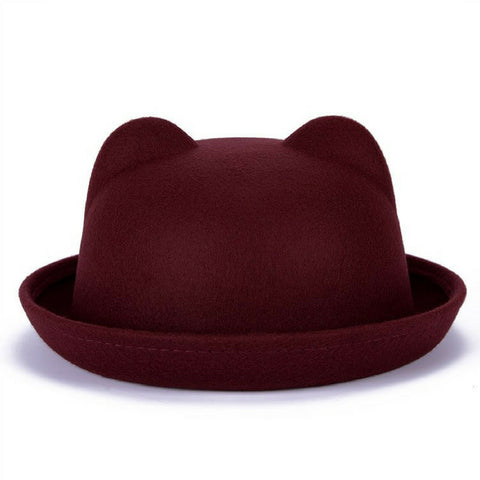 Linder Cat Ear Bowler Hat - Maroon
