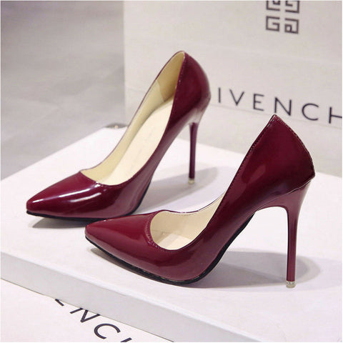 LINDER Pointed High Heels - Red Wine