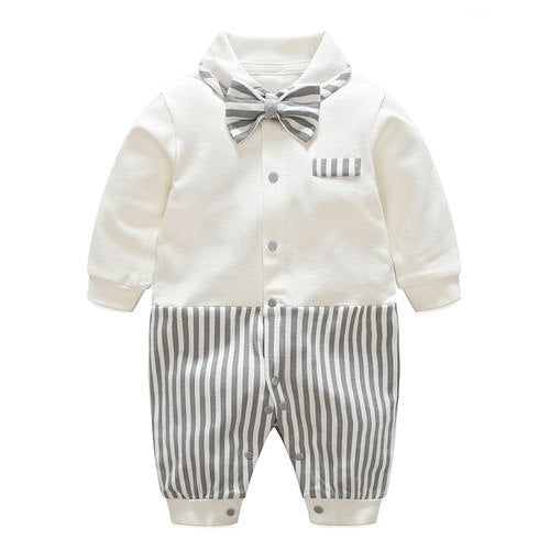 Baby Boy's Faux-two Long Sleeve Jumpsuit - Blue Suspender
