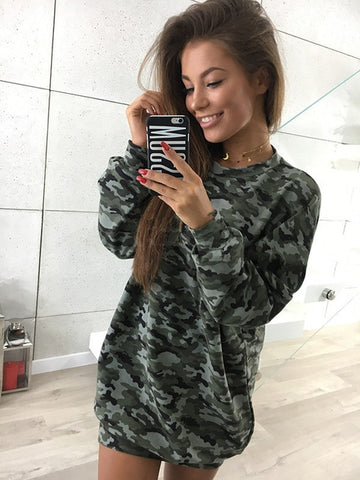 Oversized Lightweight Sweatshirt in Cammo