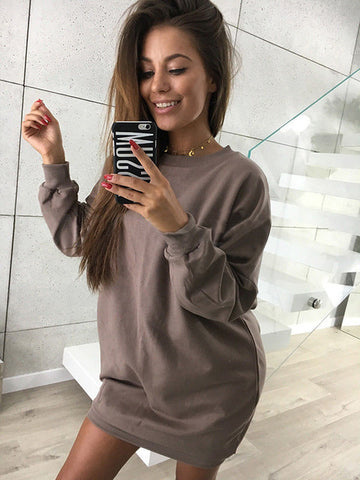 Oversized Lightweight Sweatshirt in Brown
