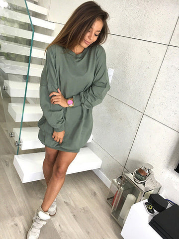 Oversized Lightweight Sweatshirt in Khaki Green