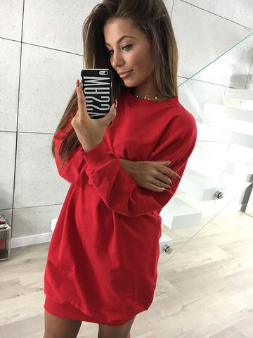 Oversized Lightweight Sweatshirt in Red