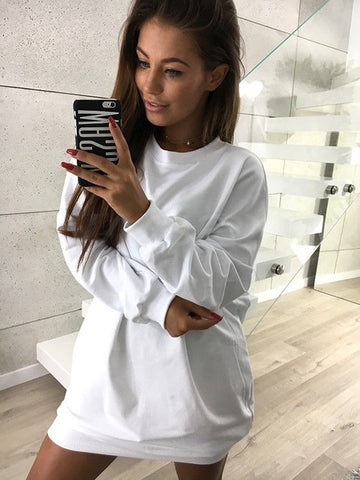 Oversized Lightweight Sweatshirt in White