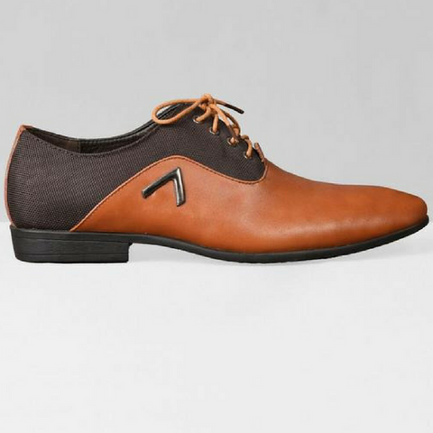 Chevron Oxford Shoes - Tan