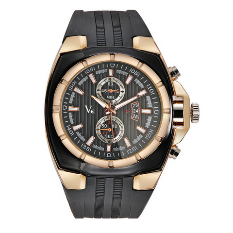 Mens V6 Sport Watch-Gold with Black Face