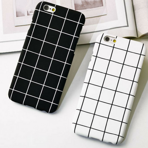 Retro Black White Grid Case For Iphone