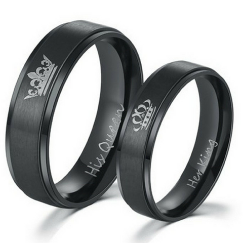 King and Queen Black Couples Rings