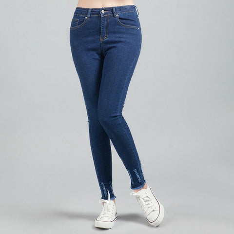 High Waist Skinny Jeans Scratch Feet in Blue