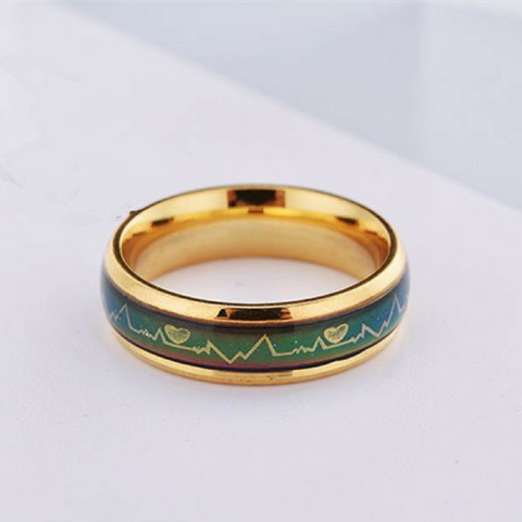Temperature Emotion Couples Rings-Gold