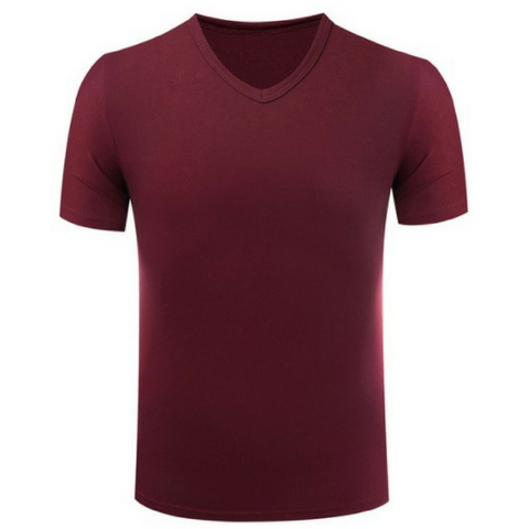Men's Cotton V-Neck T-shirt Maroon