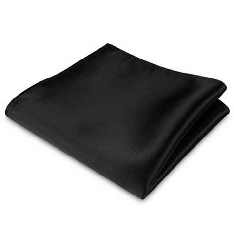 Black Silk Satin Pocket Square