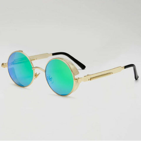 Round Hipster Sunglasses - Green Gold