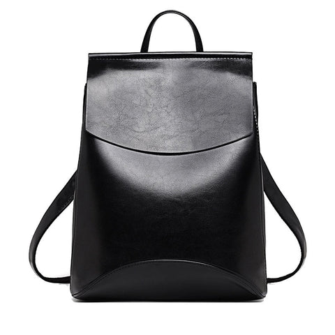 Women Leather Backpack in Black