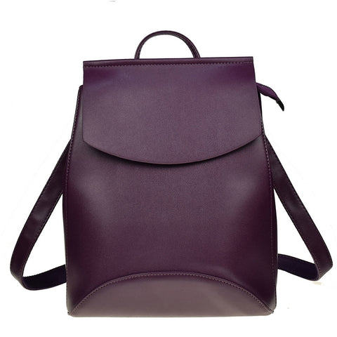 Women Leather Backpack in Dark Purple