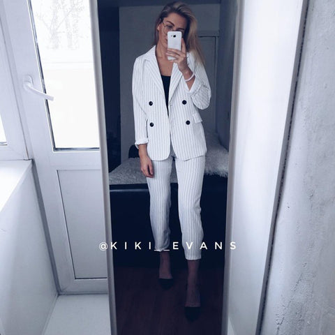 LINDER 2 Piece Striped Suit in White