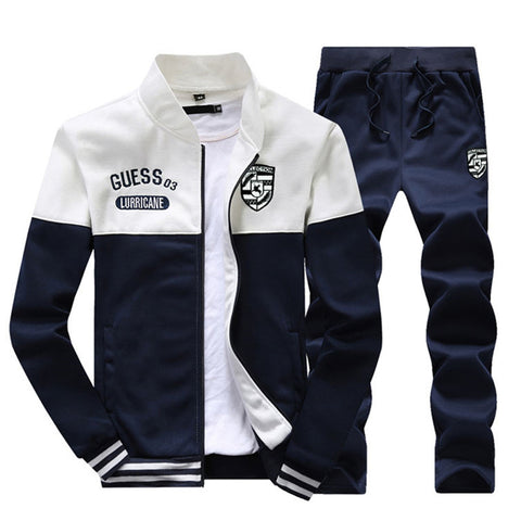Muscle Fit Tracksuit by Linder - Navy Blue/White