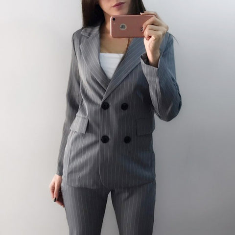 LINDER 2 Piece Striped Suit in Grey