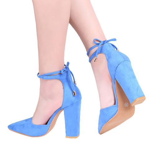 Chunky Lace Up High Heels by Linder - Sky Blue