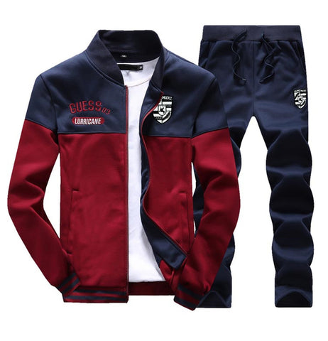 Muscle Fit Tracksuit by Linder - Red/Navy