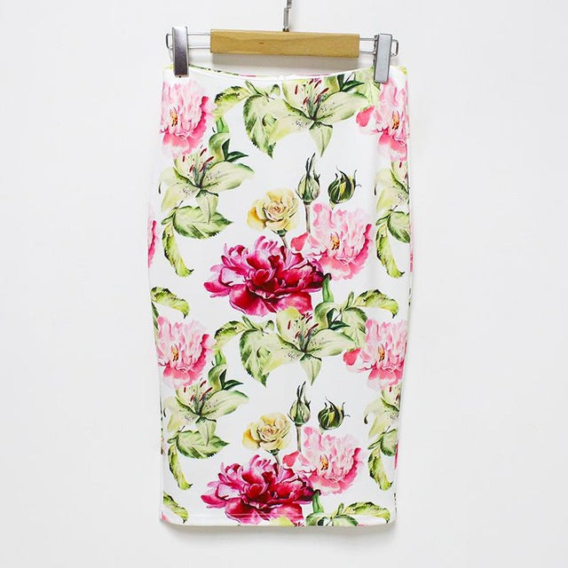 Linder pencil skirts with summer print large white flowers mightylinksfo