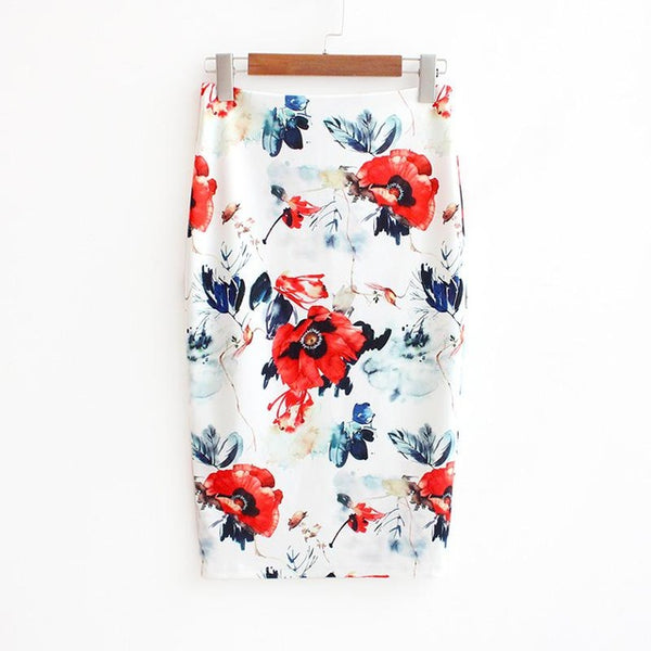 LINDER Pencil Skirts with Summer Print - Large white flowers