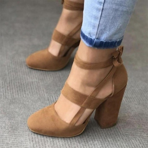 Suede Ankle Strap Pump Heels - Brown