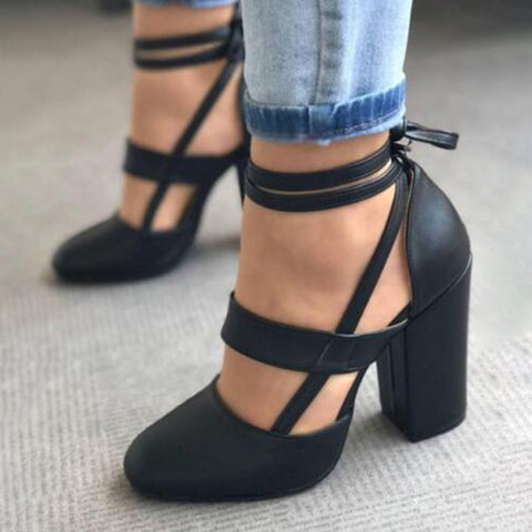 Ankle Strap Pump Heels by Linder - Black