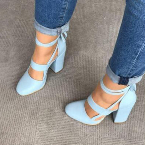 Ankle Strap Pump Heels by Linder- Sky Blue