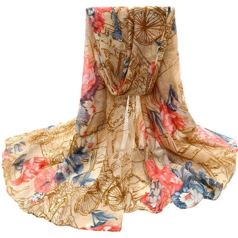 LINDER Bohemian Beach Neck Scarf Shawl in Tan