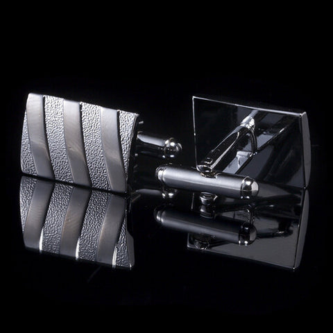 Silver Strip Pattern Cufflinks