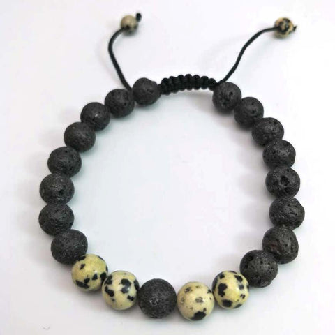 LINDER Adjustable Lava Stone Beads Bracelet