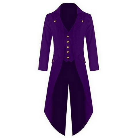 Purple Punk Retro Long Tail Trench Coat